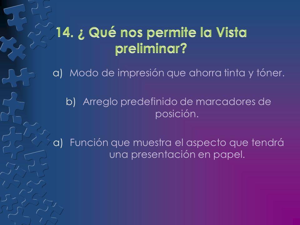 a)Función que muestra el aspecto que tendrá una presentación en papel. b)Función que permite ver notas en una plantilla mientras el publico ve diaposi