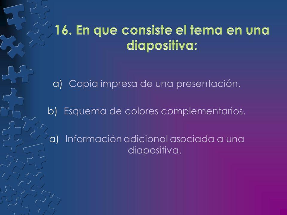 a)Función que permite ver notas en una pantalla mientras el publico ve diapositivas en otra. b)Pequeña imagen de una diapositiva. a)Distancia a partir