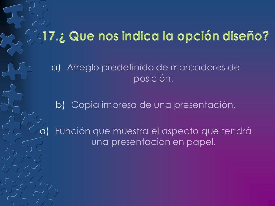 a)Copia impresa de una presentación. b)Esquema de colores complementarios. a)Información adicional asociada a una diapositiva.