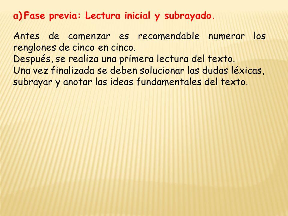 a)Fase previa: Lectura inicial y subrayado.