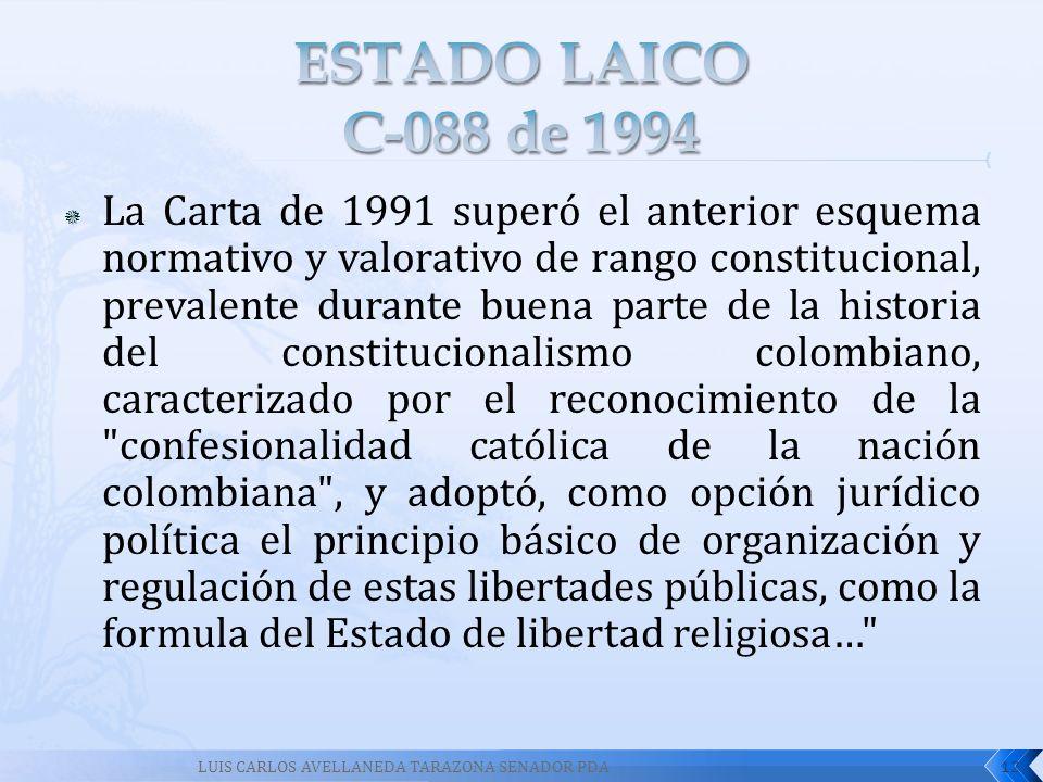 La Carta de 1991 superó el anterior esquema normativo y valorativo de rango constitucional, prevalente durante buena parte de la historia del constitu