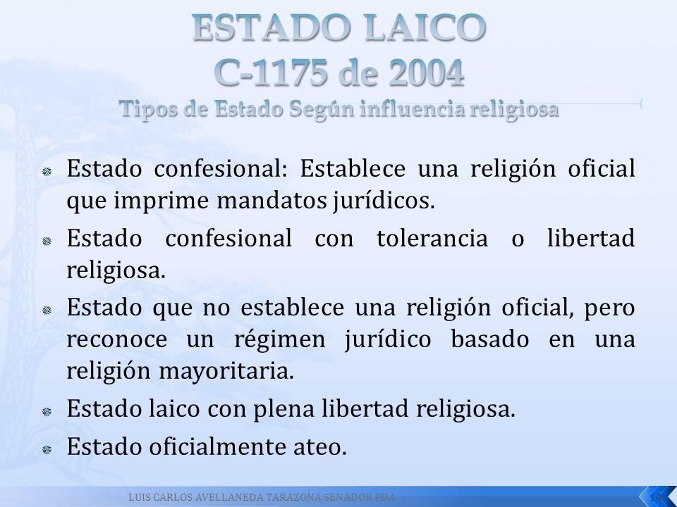 Estado confesional: Establece una religión oficial que imprime mandatos jurídicos. Estado confesional con tolerancia o libertad religiosa. Estado que