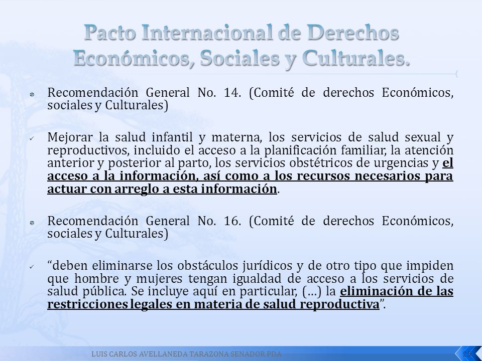 Recomendación General No. 14. (Comité de derechos Económicos, sociales y Culturales) Mejorar la salud infantil y materna, los servicios de salud sexua