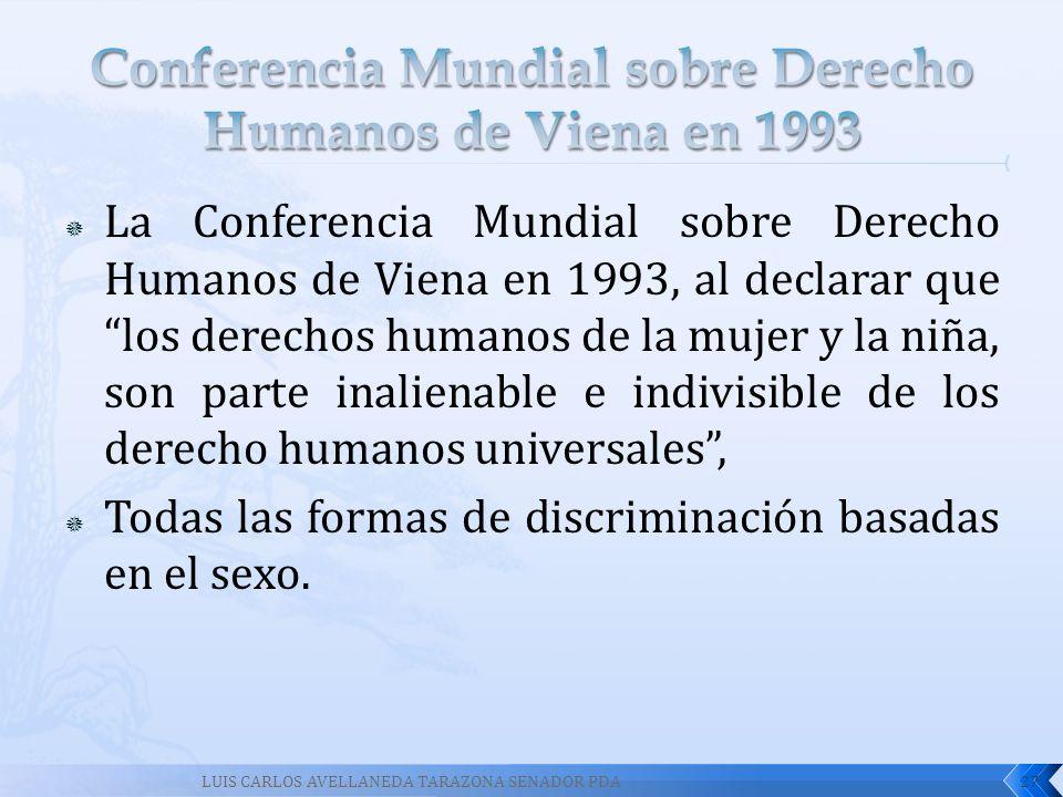 La Conferencia Mundial sobre Derecho Humanos de Viena en 1993, al declarar que los derechos humanos de la mujer y la niña, son parte inalienable e ind