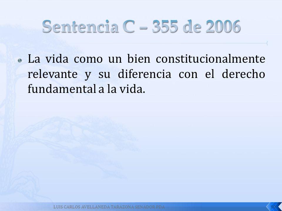 La vida como un bien constitucionalmente relevante y su diferencia con el derecho fundamental a la vida. 30LUIS CARLOS AVELLANEDA TARAZONA SENADOR PDA