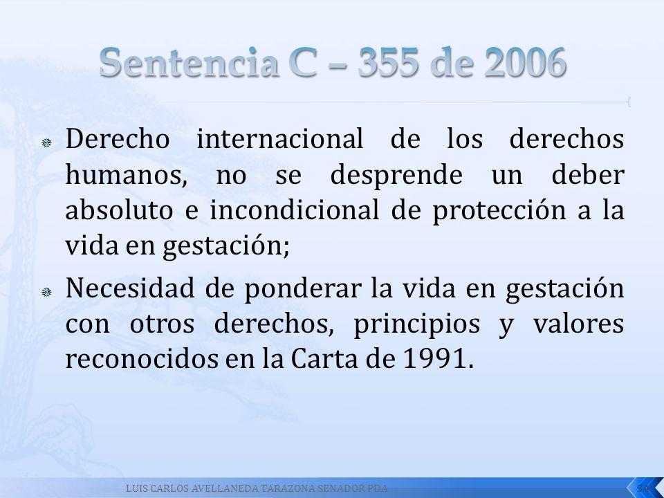 Derecho internacional de los derechos humanos, no se desprende un deber absoluto e incondicional de protección a la vida en gestación; Necesidad de po
