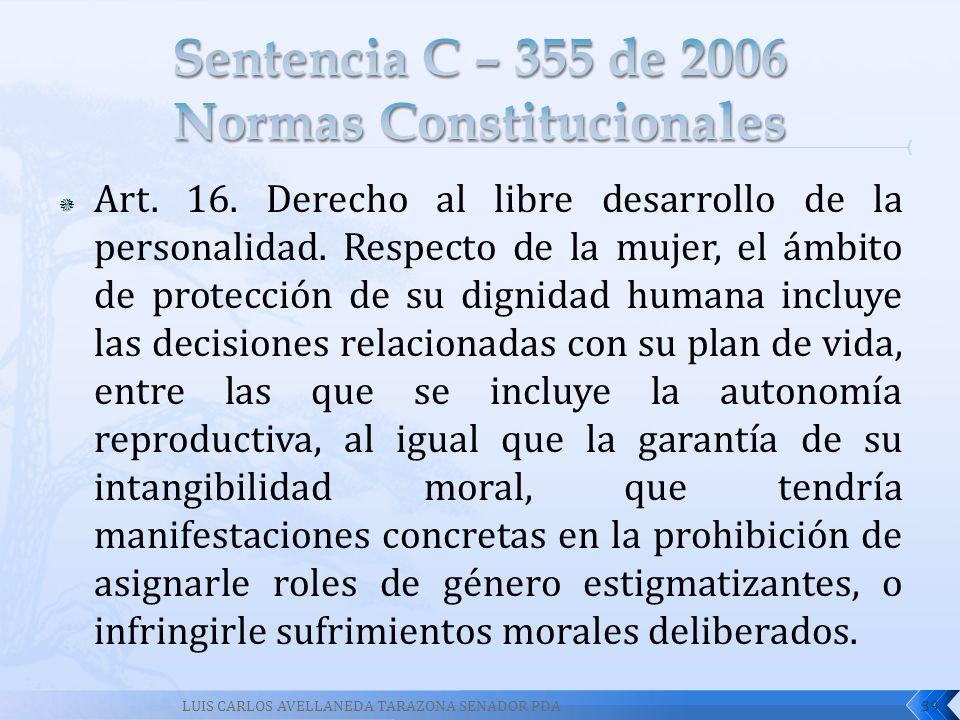 Art. 16. Derecho al libre desarrollo de la personalidad. Respecto de la mujer, el ámbito de protección de su dignidad humana incluye las decisiones re
