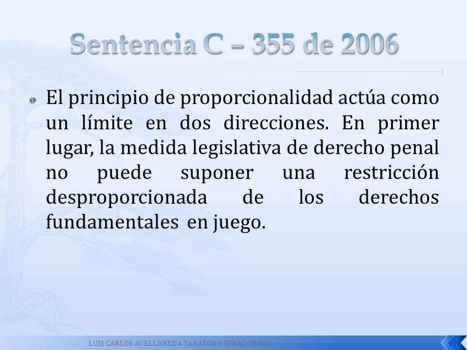 El principio de proporcionalidad actúa como un límite en dos direcciones. En primer lugar, la medida legislativa de derecho penal no puede suponer una