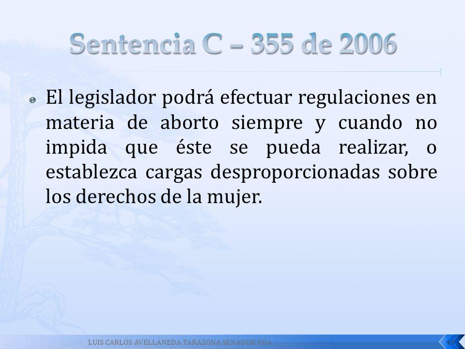 El legislador podrá efectuar regulaciones en materia de aborto siempre y cuando no impida que éste se pueda realizar, o establezca cargas desproporcio