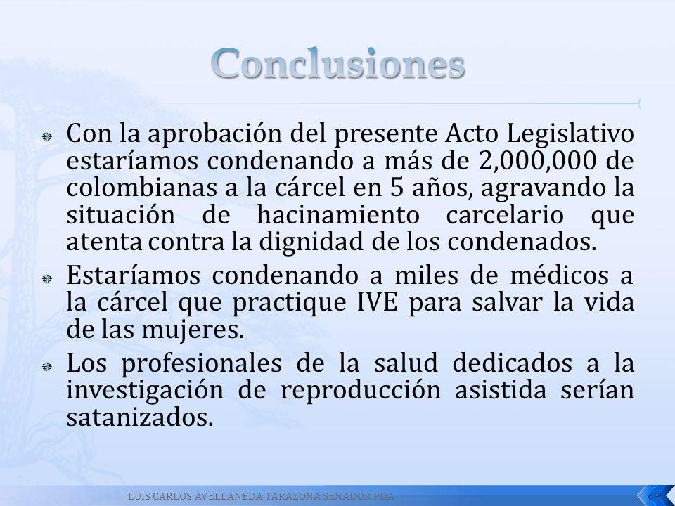 Con la aprobación del presente Acto Legislativo estaríamos condenando a más de 2,000,000 de colombianas a la cárcel en 5 años, agravando la situación