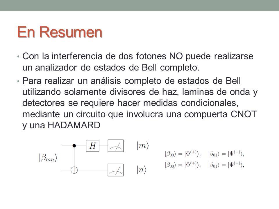 En Resumen Con la interferencia de dos fotones NO puede realizarse un analizador de estados de Bell completo. Para realizar un análisis completo de es
