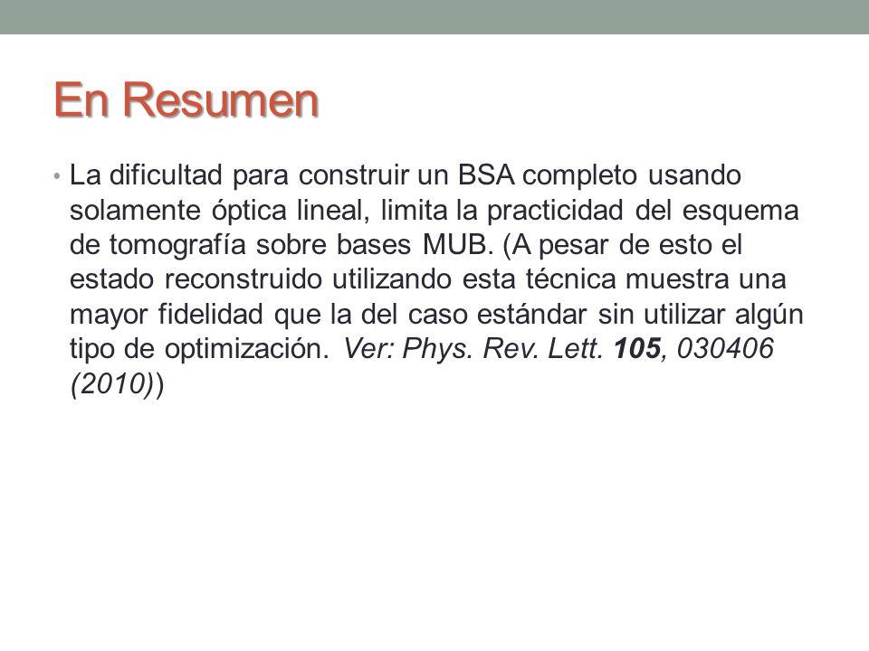 En Resumen La dificultad para construir un BSA completo usando solamente óptica lineal, limita la practicidad del esquema de tomografía sobre bases MU