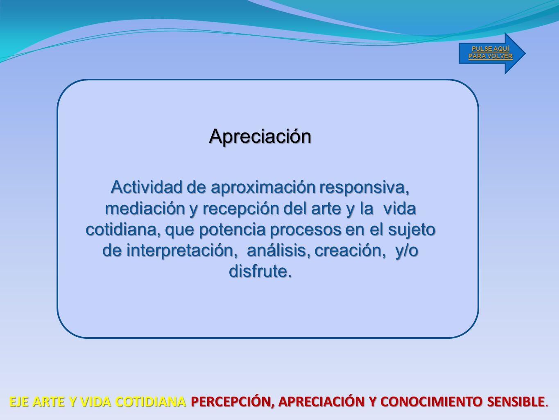 Actividad de aproximación responsiva, mediación y recepción del arte y la vida cotidiana, que potencia procesos en el sujeto de interpretación, análisis, creación, y/o disfrute.