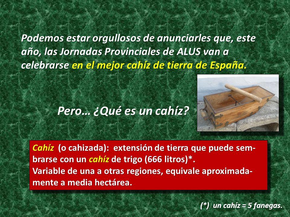 Podemos estar orgullosos de anunciarles que, este año, las Jornadas Provinciales de ALUS van a celebrarse en el mejor cahíz de tierra de España. Pero…