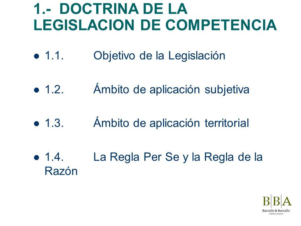 1.- DOCTRINA DE LA LEGISLACION DE COMPETENCIA 1.1.Objetivo de la Legislación 1.2.Ámbito de aplicación subjetiva 1.3.Ámbito de aplicación territorial 1