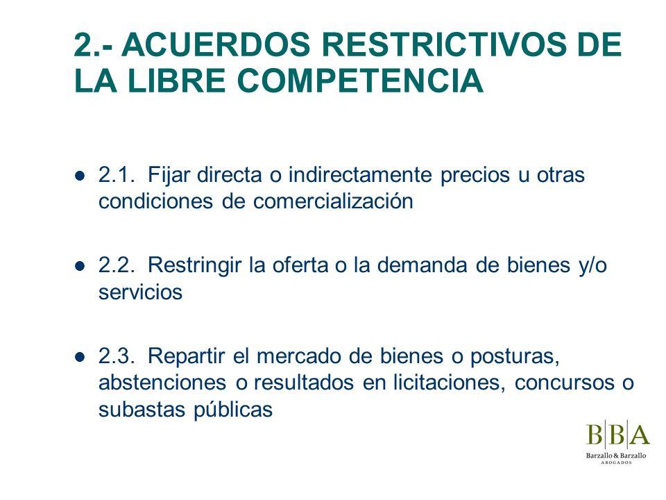 2.- ACUERDOS RESTRICTIVOS DE LA LIBRE COMPETENCIA 2.1. Fijar directa o indirectamente precios u otras condiciones de comercialización 2.2. Restringir