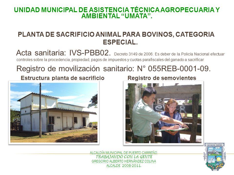 UNIDAD MUNICIPAL DE ASISTENCIA TÉCNICA AGROPECUARIA Y AMBIENTAL UMATA. PLANTA DE SACRIFICIO ANIMAL PARA BOVINOS, CATEGORIA ESPECIAL. Acta sanitaria: I