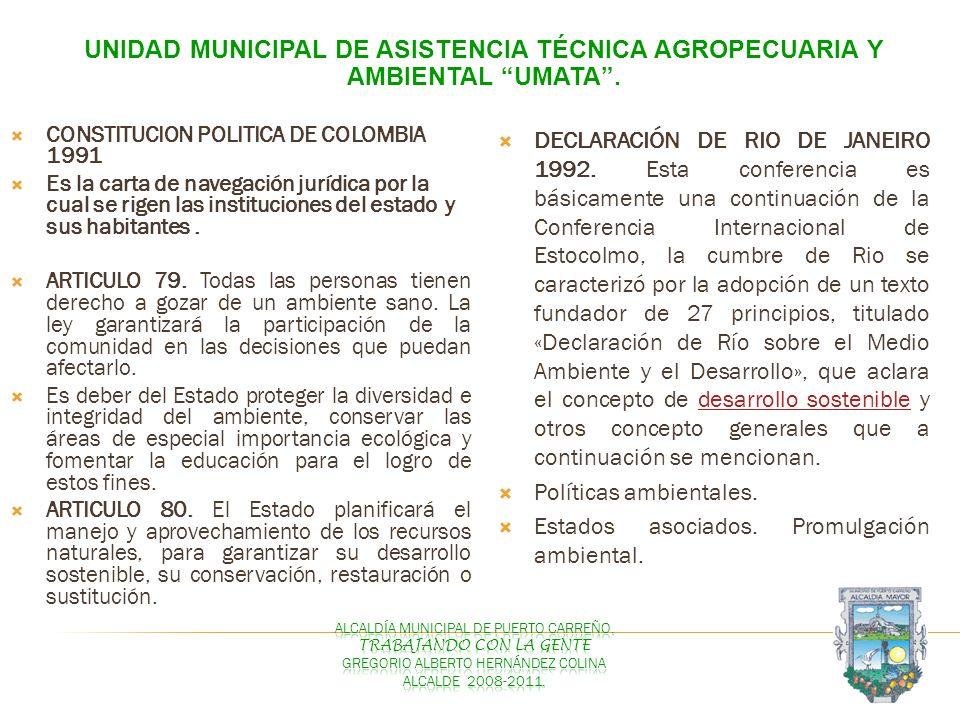 UNIDAD MUNICIPAL DE ASISTENCIA TÉCNICA AGROPECUARIA Y AMBIENTAL UMATA. CONSTITUCION POLITICA DE COLOMBIA 1991 Es la carta de navegación jurídica por l