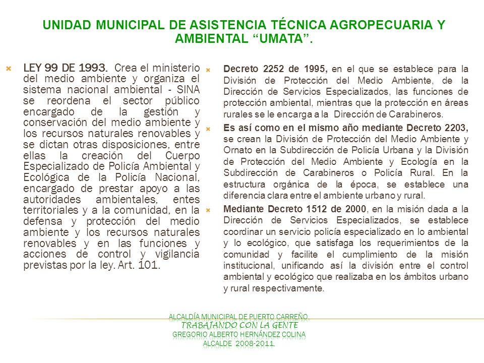 UNIDAD MUNICIPAL DE ASISTENCIA TÉCNICA AGROPECUARIA Y AMBIENTAL UMATA. LEY 99 DE 1993. Crea el ministerio del medio ambiente y organiza el sistema nac