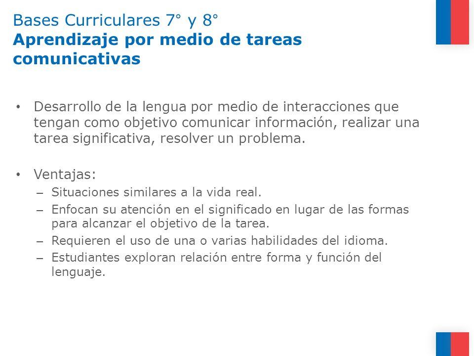 Bases Curriculares 7° y 8° Aprendizaje por medio de tareas comunicativas Desarrollo de la lengua por medio de interacciones que tengan como objetivo c