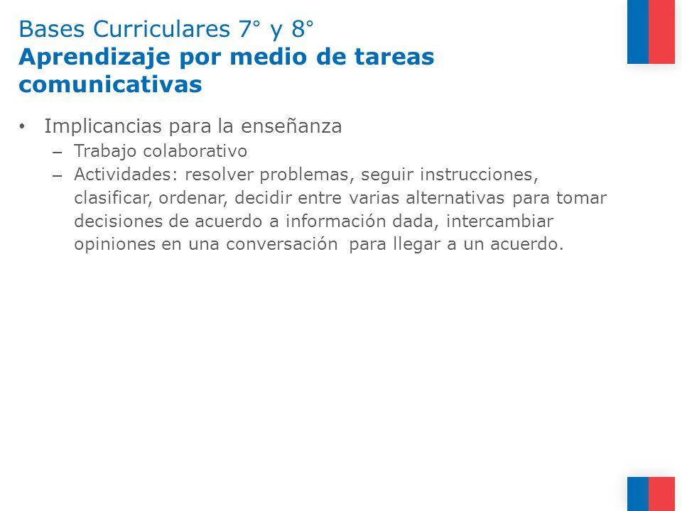 Bases Curriculares 7° y 8° Aprendizaje por medio de tareas comunicativas Implicancias para la enseñanza – Trabajo colaborativo – Actividades: resolver