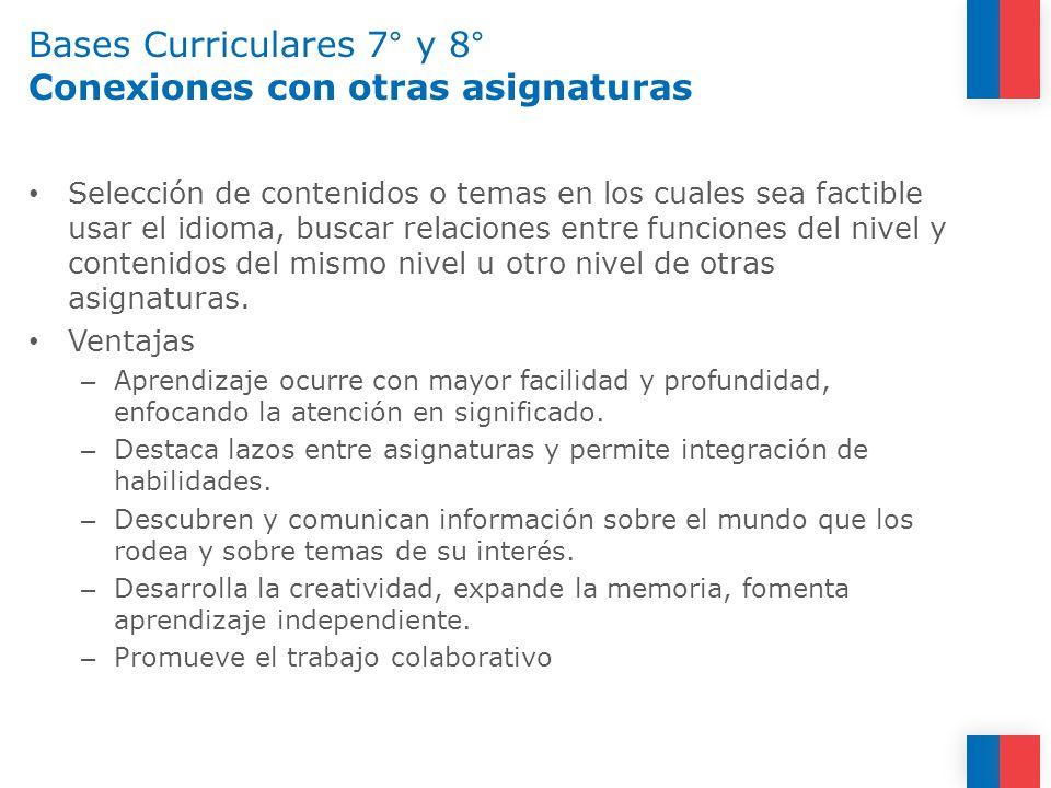 Bases Curriculares 7° y 8° Conexiones con otras asignaturas Selección de contenidos o temas en los cuales sea factible usar el idioma, buscar relacion