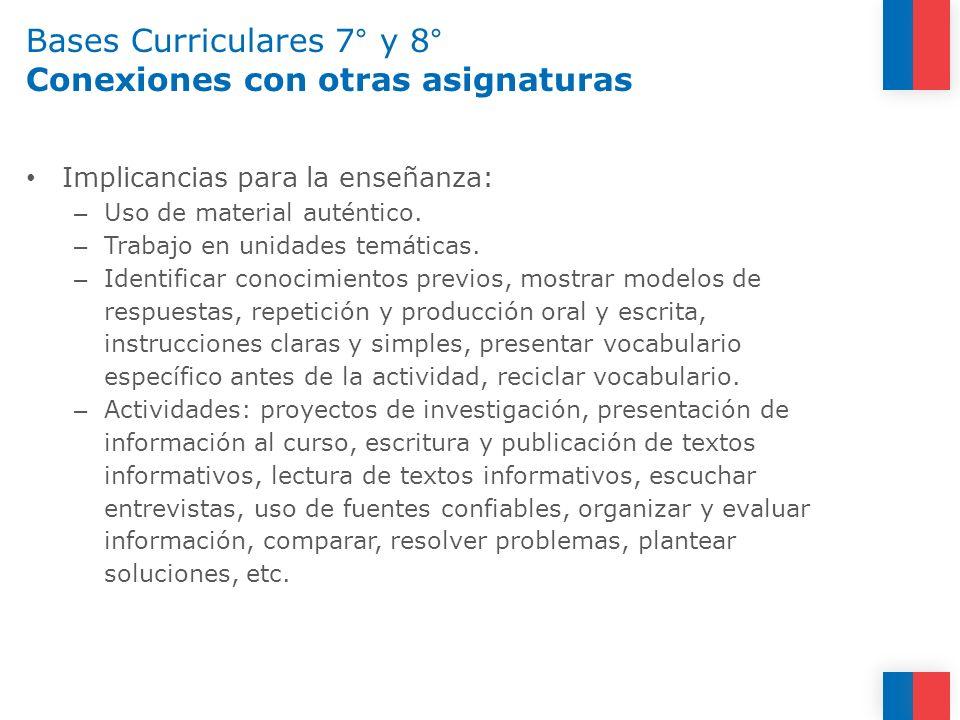 Bases Curriculares 7° y 8° Conexiones con otras asignaturas Implicancias para la enseñanza: – Uso de material auténtico. – Trabajo en unidades temátic