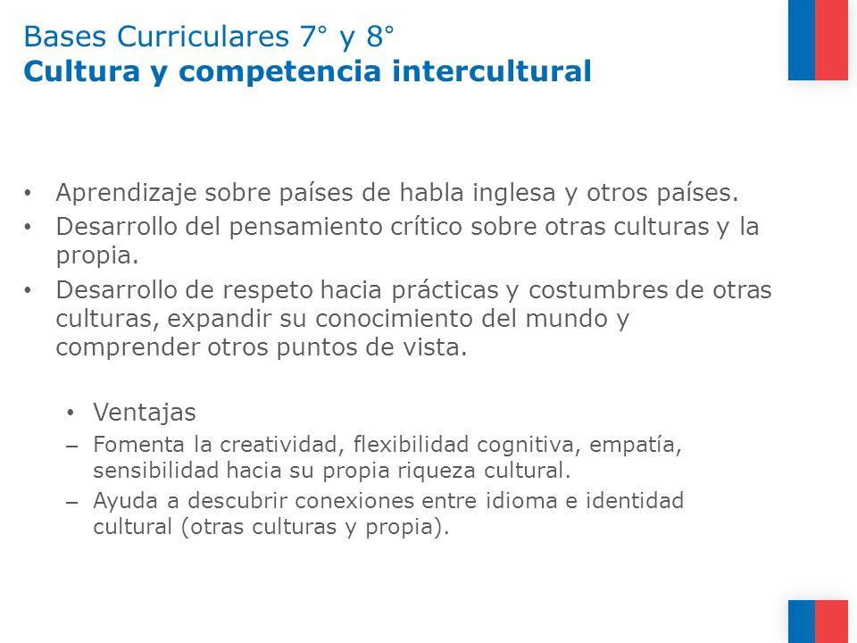 Bases Curriculares 7° y 8° Cultura y competencia intercultural Aprendizaje sobre países de habla inglesa y otros países. Desarrollo del pensamiento cr