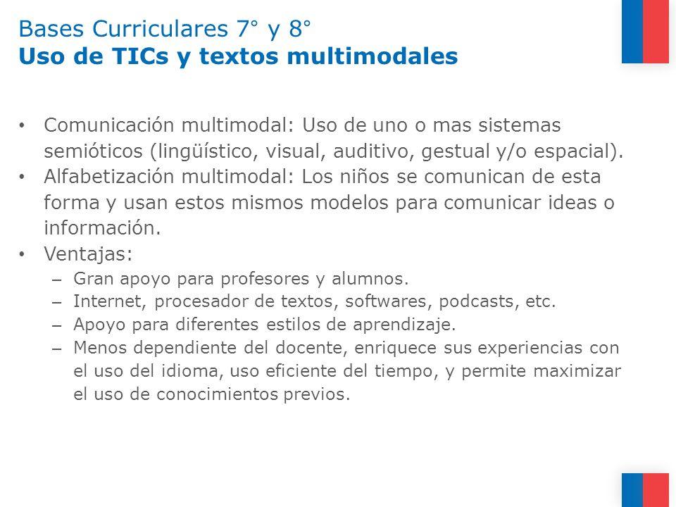 Bases Curriculares 7° y 8° Uso de TICs y textos multimodales Comunicación multimodal: Uso de uno o mas sistemas semióticos (lingüístico, visual, audit
