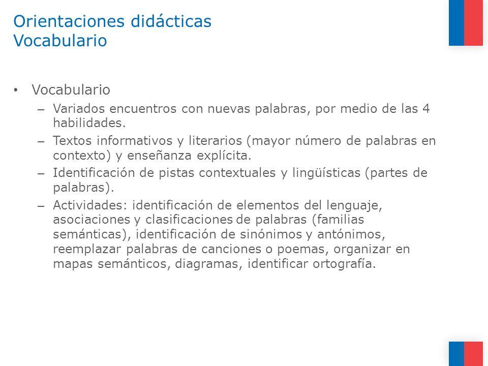 Orientaciones didácticas Vocabulario Vocabulario – Variados encuentros con nuevas palabras, por medio de las 4 habilidades. – Textos informativos y li