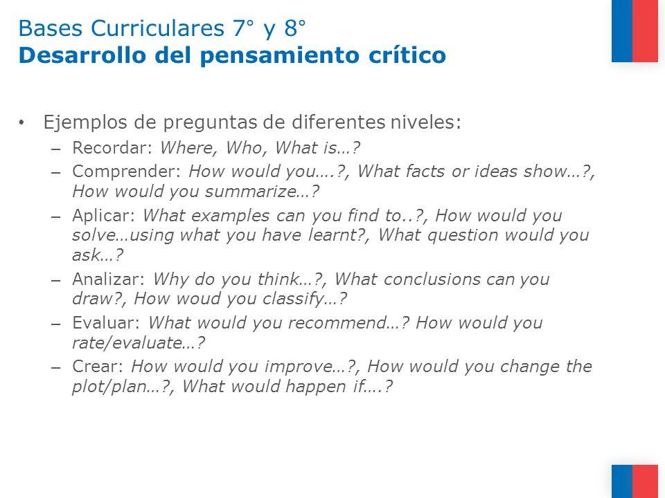 Bases Curriculares 7° y 8° Desarrollo del pensamiento crítico Ejemplos de preguntas de diferentes niveles: – Recordar: Where, Who, What is…? – Compren