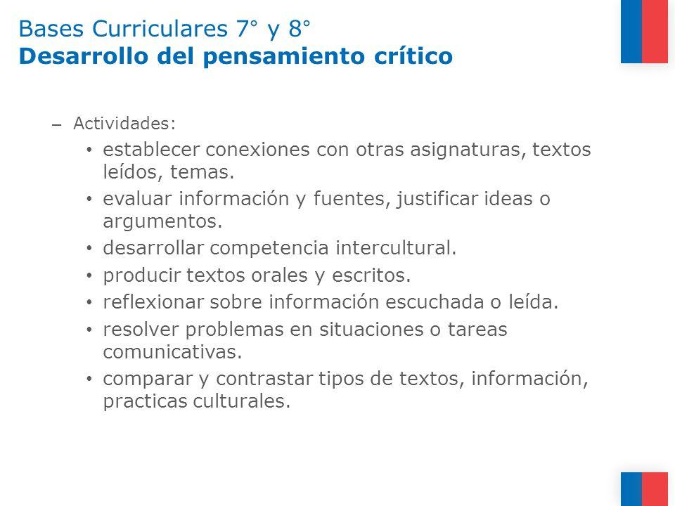 Bases Curriculares 7° y 8° Desarrollo del pensamiento crítico – Actividades: establecer conexiones con otras asignaturas, textos leídos, temas. evalua