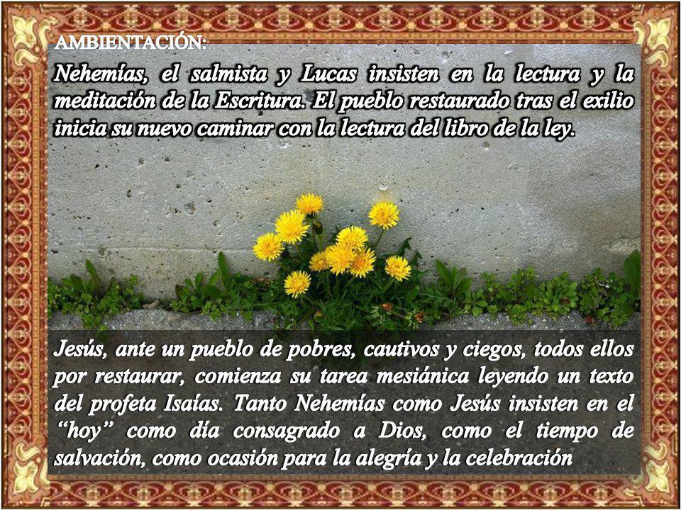 Ambientación: Ambientación: Biblia abierta al centro, sobre ella un cartel que diga: HOY Cantos sugeridos: El Espíritu de Dios está sobre mí, Bendigam