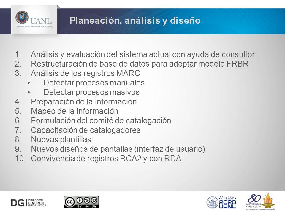 1.Análisis y evaluación del sistema actual con ayuda de consultor 2.Restructuración de base de datos para adoptar modelo FRBR 3.Análisis de los registros MARC Detectar procesos manuales Detectar procesos masivos 4.Preparación de la información 5.Mapeo de la información 6.Formulación del comité de catalogación 7.Capacitación de catalogadores 8.Nuevas plantillas 9.Nuevos diseños de pantallas (interfaz de usuario) 10.Convivencia de registros RCA2 y con RDA Planeación, análisis y diseño