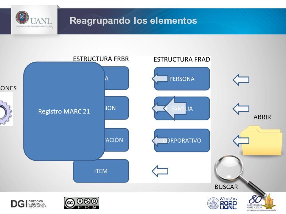 Reagrupando los elementos CONFIGURACIONES BUSCAR ABRIR Registro MARC 21