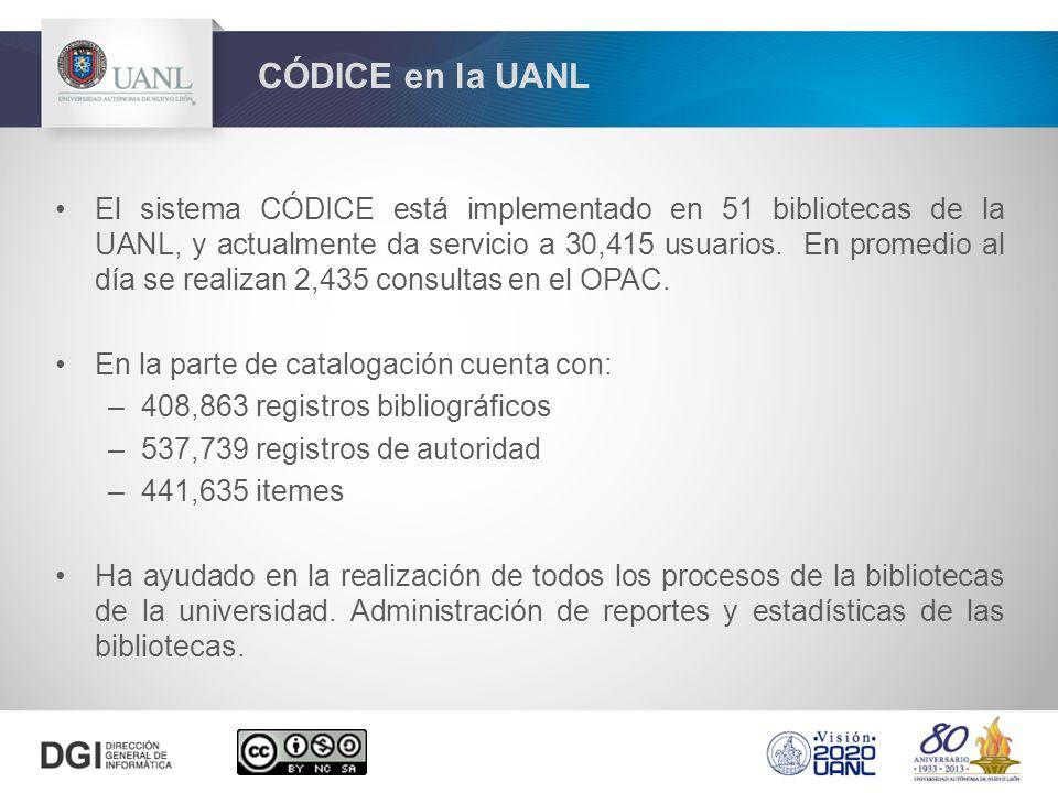 El sistema CÓDICE está implementado en 51 bibliotecas de la UANL, y actualmente da servicio a 30,415 usuarios. En promedio al día se realizan 2,435 co