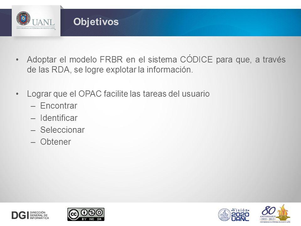 Adoptar el modelo FRBR en el sistema CÓDICE para que, a través de las RDA, se logre explotar la información. Lograr que el OPAC facilite las tareas de
