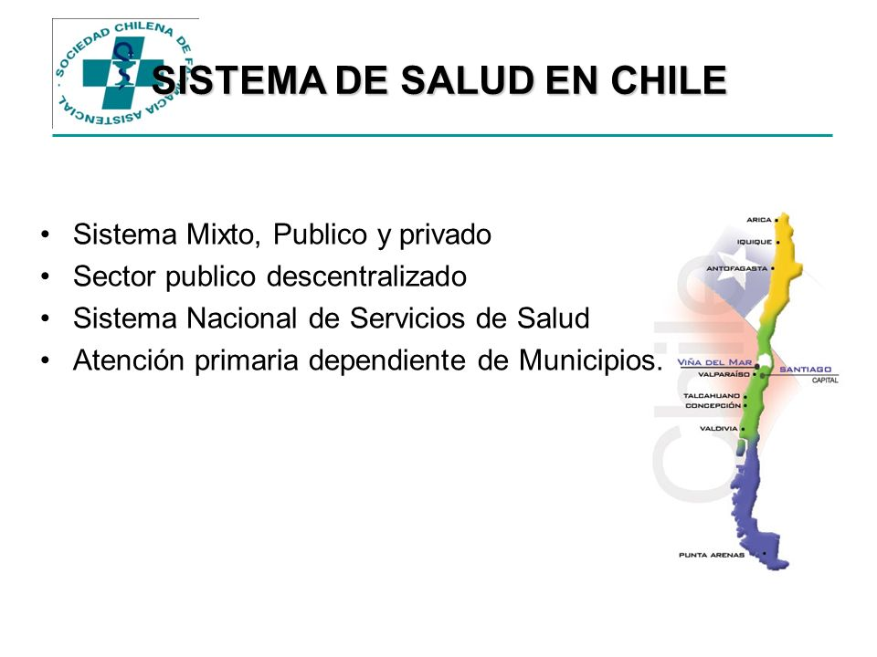 SISTEMA DE SALUD EN CHILE Sistema Mixto, Publico y privado Sector publico descentralizado Sistema Nacional de Servicios de Salud Atención primaria dep