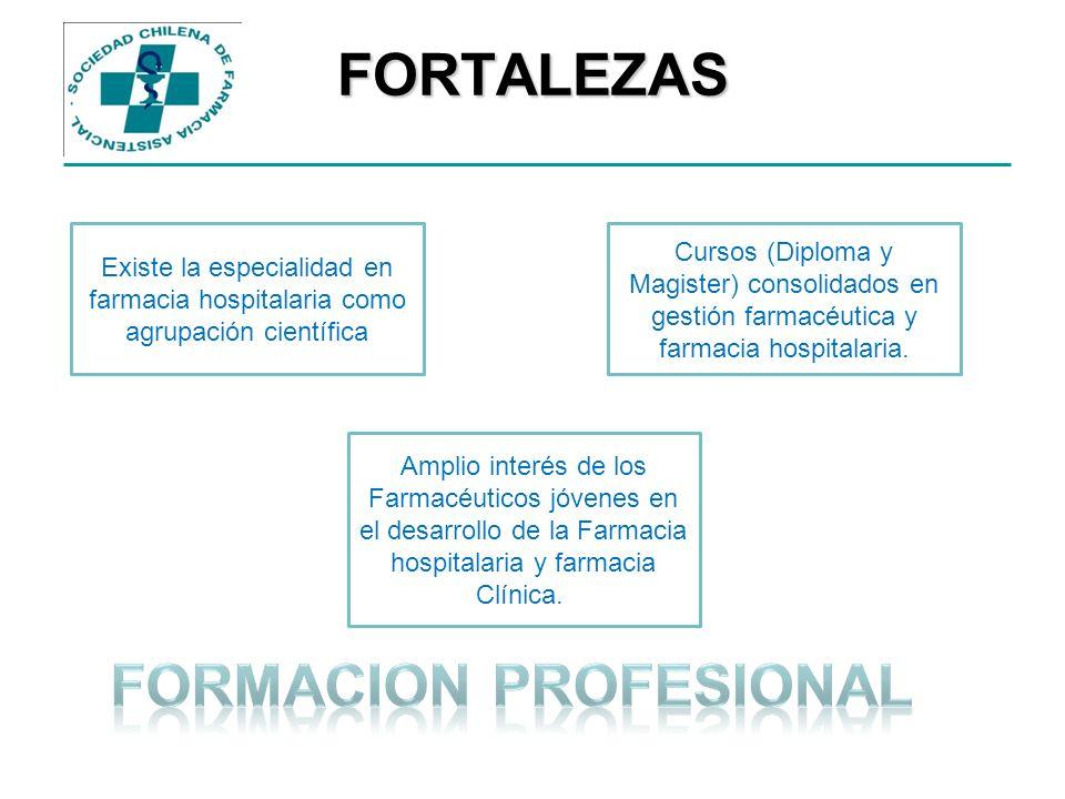 FORTALEZAS Existe la especialidad en farmacia hospitalaria como agrupación científica Amplio interés de los Farmacéuticos jóvenes en el desarrollo de