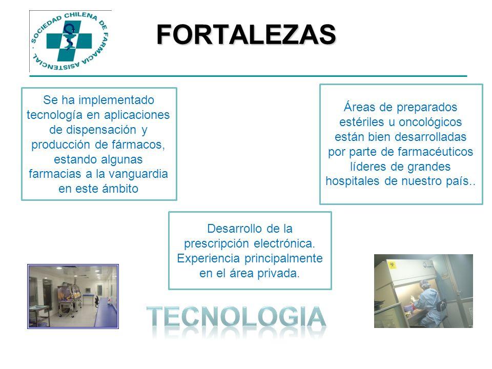 FORTALEZAS Se ha implementado tecnología en aplicaciones de dispensación y producción de fármacos, estando algunas farmacias a la vanguardia en este á