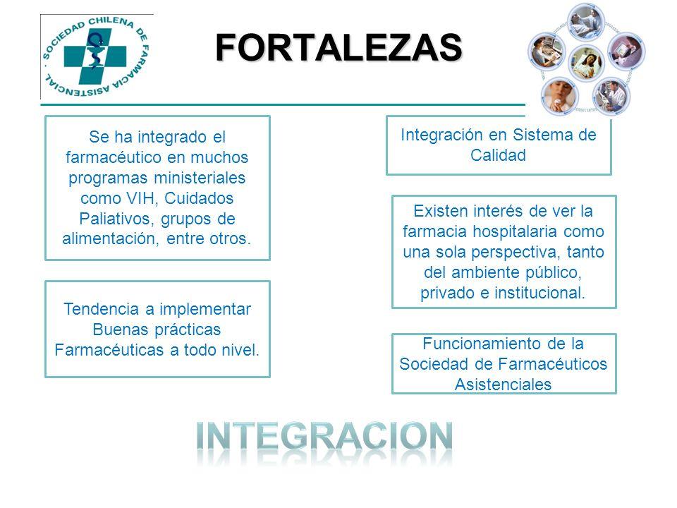 FORTALEZAS Se ha integrado el farmacéutico en muchos programas ministeriales como VIH, Cuidados Paliativos, grupos de alimentación, entre otros. Tende