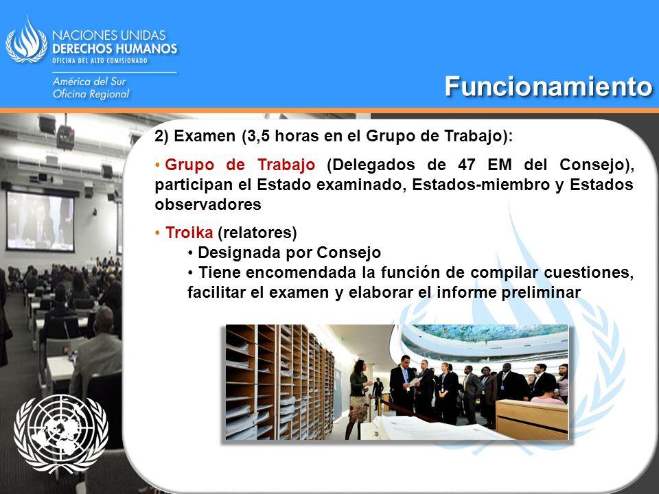 FuncionamientoFuncionamiento 2) Examen (3,5 horas en el Grupo de Trabajo): Grupo de Trabajo (Delegados de 47 EM del Consejo), participan el Estado exa