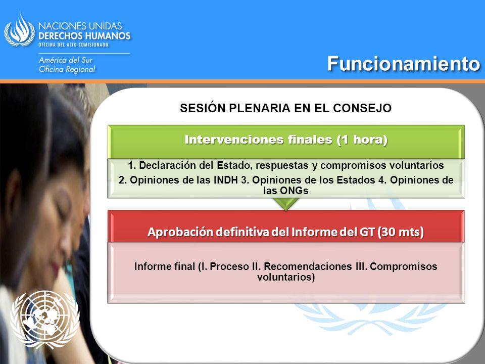 FuncionamientoFuncionamiento Aprobación definitiva del Informe del GT (30 mts) Informe final (I. Proceso II. Recomendaciones III. Compromisos voluntar