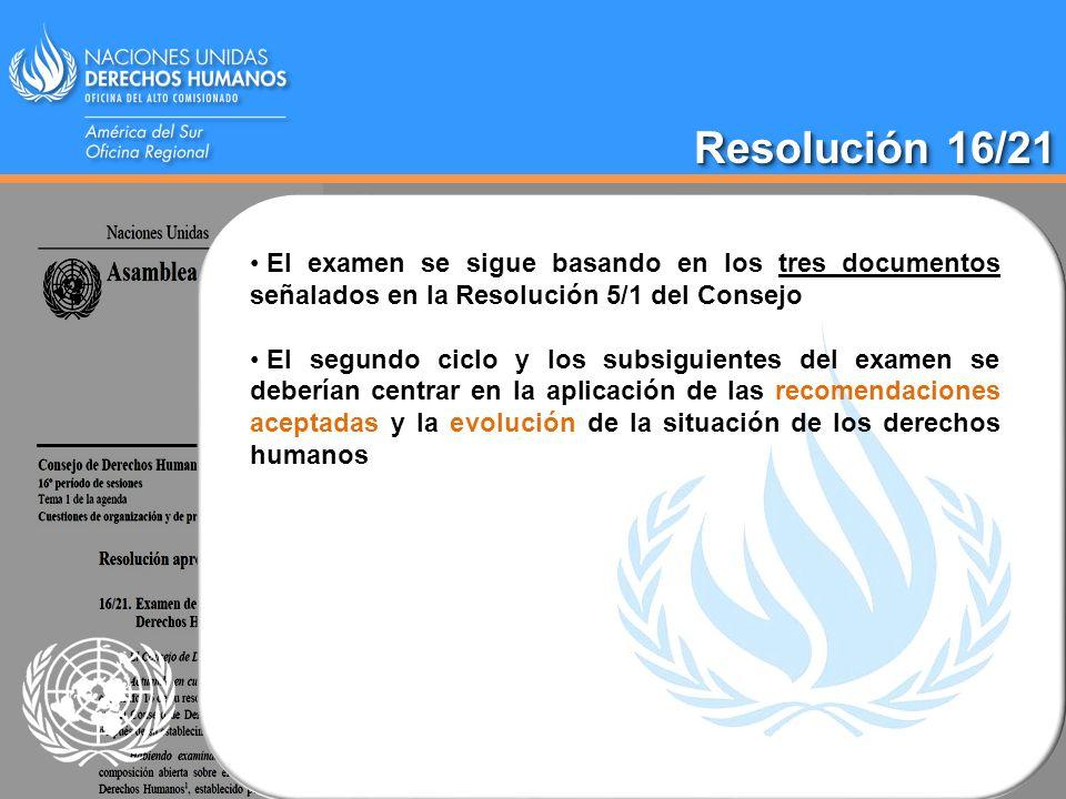 Resolución 16/21 El examen se sigue basando en los tres documentos señalados en la Resolución 5/1 del Consejo El segundo ciclo y los subsiguientes del