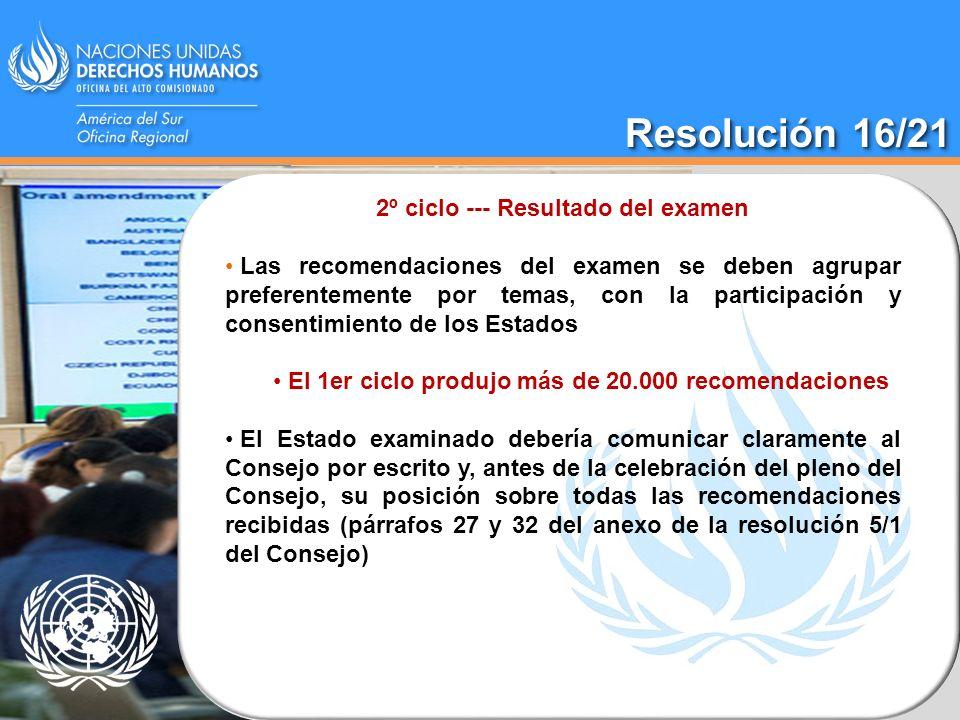 2º ciclo --- Resultado del examen Las recomendaciones del examen se deben agrupar preferentemente por temas, con la participación y consentimiento de