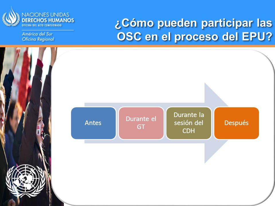 ¿Cómo pueden participar las OSC en el proceso del EPU? Antes Durante el GT Durante la sesión del CDH Después