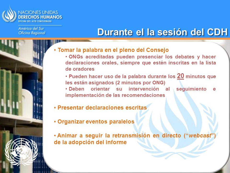 Tomar la palabra en el pleno del Consejo ONGs acreditadas pueden presenciar los debates y hacer declaraciones orales, siempre que estén inscritas en l