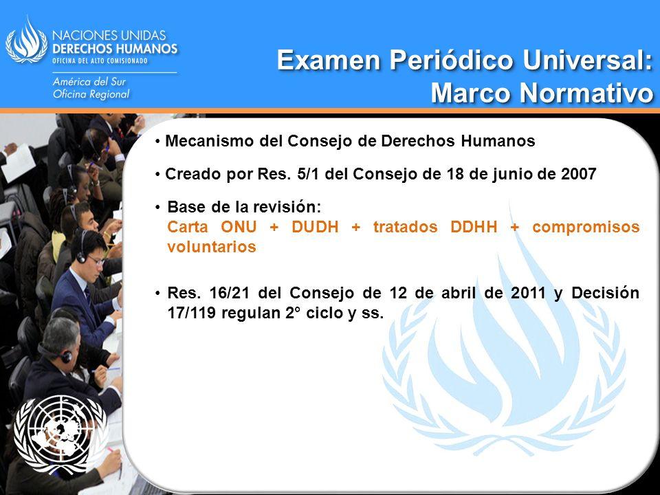 Segundo ciclo: Marco normativo Segundo ciclo: Marco normativo SEGUNDO CICLO (2012 – 2016) Resolución 16/21 del Consejo de 25 de marzo de 2011 (modificaciones para el 2° ciclo) Directrices Generales para el 2° ciclo del EPU.