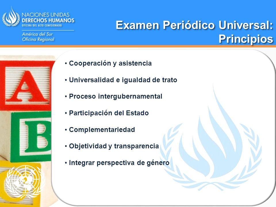 Examen Periódico Universal: Principios Principios Cooperación y asistencia Universalidad e igualdad de trato Proceso intergubernamental Participación