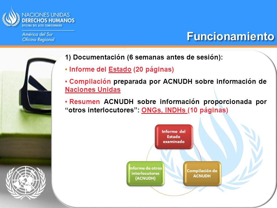 FuncionamientoFuncionamiento Informe del Estado examinado Compilación de ACNUDH Informe de otros interlocutores (ACNUDH) 1) Documentación (6 semanas a